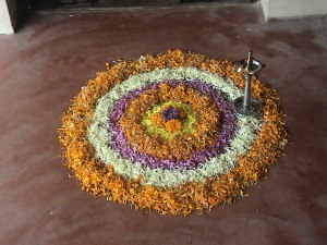 Pookkalam that Rhea made with her grandfather