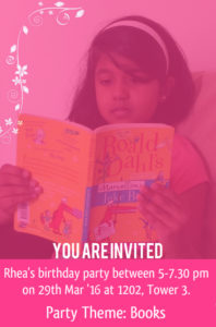 Rhea Rajan Birthday Invite