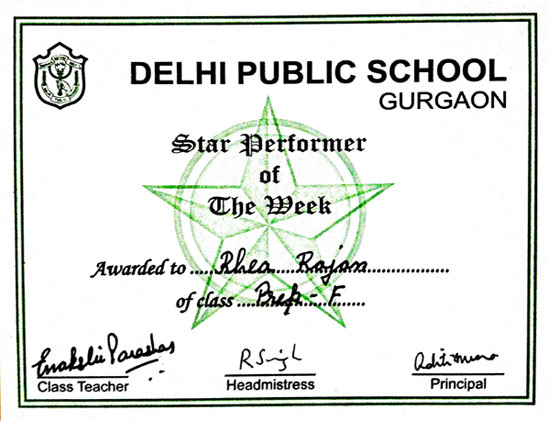 performer of the month certificate